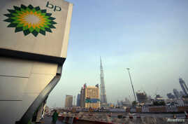 The British Petroleum logo is seen near a gas station in Dubai, United Arab Emirates, in this July 7, 2010, file photo