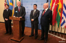 Chinese Deputy U.N. Ambassador Wu Haitao, U.N. ambassadors Rafael Ramirez from Venezuela, Sacha Sergio Llorenty Soliz from Bolivia and Vassily Nebenzia from Russia, speak to reporters at the United Nations in New York, Nov. 13, 2017.