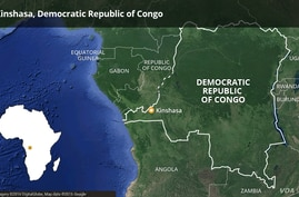 Map of Democratic Republic of Congo, DRC - highlighting Kinshasa