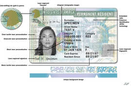 """This image released by USCIS shows a sample of the front of the redesigned green card carried by foreign-born residents living permanently in the U.S. The Homeland Security Department is issuing the redesigned """"green card"""" that is stacked with safety"""