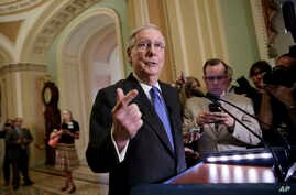 Senate Majority Leader Mitch McConnell, R-Ky., speaks to reporters about the struggle to move Supreme Court nominee Neil Gorsuch toward a final up-or-down vote on the Senate floor, at the Capitol in Washington, April 4, 2017.
