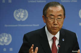 United Nations Secretary-General Ban Ki-moon speaks about the Syria conflict during a news conference at the U.N. Headquarters in New York, Sept. 3, 2013.