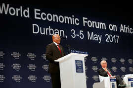 South African President Jacob Zuma participates in a discussion at the World Economic Forum on Africa 2017 meeting in Durban, South Africa, May 4, 2017.