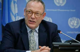 FILE - Ben Emmerson, U.N. special investigator on counterterrorism and human rights, is pictured at U.N. headquarters, Oct. 21, 2016. He says the Saudis gave him access to top officials overseeing the country's handling of sensitive terrorism cases.