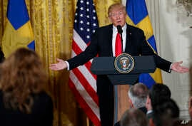 President Donald Trump speaks during a news conference with Swedish Prime Minister Stefan Lofven in the East Room of the White House, March 6, 2018.