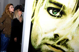 "Kurt Cobain's daughter Frances Bean Cobain attends the opening of ""Growing Up Kurt Cobain"" exhibition featuring personal items of Nirvana frontman Kurt Cobain at the museum of Style Icons in Newbridge, Ireland, July 17, 2018."