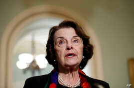 Senate Judiciary Committee Ranking Member Sen. Dianne Feinstein, D-Calif., speaks to the media about the FBI report on sexual misconduct allegations against Supreme Court nominee Brett Kavanaugh, on Capitol Hill, Oct. 4, 2018 in Washington.