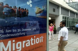 An exhibit in Dresden, a city that has seen protests and violence against refugees, purports to gain sympathy for Germany's more than a million new asylum seekers, some of whom are finding it so difficult that they want to go back, July 7, 2016. (H.