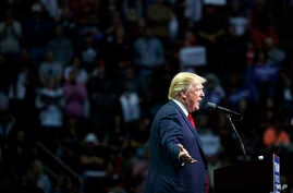 Republican presidential candidate Donald Trump speaks during a campaign rally, Friday, November 4, 2016, in Hershey, Pennsylvania.