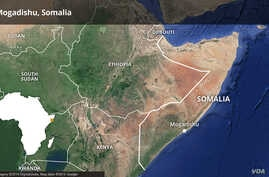 Map of Somalia highlighting Mogadishu.