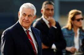 U.S. Secretary of State Rex Tillerson arrives in Mexico City, Mexico, Feb. 22, 2017.