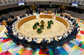European Union heads of state and government are seen gathered for a round table meeting at an EU summit in Brussels, Belgium, March 10, 2017. EU leaders are debating the future of their bloc as Britain eyes the exit door and members states are divi