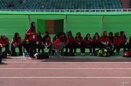 Afghan women soccer players at the South Asian Football Federation Championship in Islamabad. (Ayaz Gul/VOA)