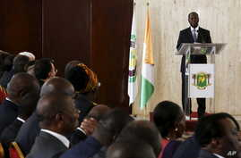 Ivory Coast's incumbent President and presidential candidate Alassane Ouattara speaks after the signing of a 'code of conduct' at the Presidential Palace in Abidjan Oct. 7, 2015.