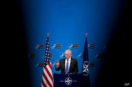 U.S. Secretary for Defense Jim Mattis talks to journalists during a news conference at the end of the second day of a meeting of the North Atlantic Council at a gathering of NATO defense ministers at NATO headquarters in Brussels, Belgium, Oct. 4, 20