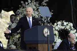 Vice President Joe Biden speaks at a memorial service for slain Massachusetts Institute of Technology campus officer, Sean Collier, at MIT in Cambridge, Mass. Wednesday, Apr. 24, 2013.