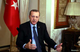 "Turkish President Tayyip Erdogan gives an interview in Istanbul, Dec. 19, 2016. Claims by Erdogan that there is ""confirmed evidence"" showing U.S.-led coalition forces have given support to Islamic State were denied by the United States, Dec. 28, 2016"