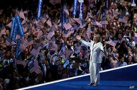 Democratic presidential candidate Hillary Clinton takes the stage during the final day of the Democratic National Convention in Philadelphia,  July 28, 2016.