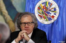 Secretary General of the Organization of American States (OAS) Luis Almagro attends a news conference inside the presidential house in Tegucigalpa, Aug. 8, 2015.