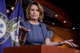 """House Minority Leader Nancy Pelosi of Calif. speaks to reporters about Republican efforts to craft an """"Obamacare"""" replacement bill, March 9, 2017, on Capitol Hill in Washington."""