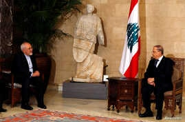 Iran's Foreign Minister Mohammad Javad Zarif (L) meets with Lebanese President Michel Aoun, at the presidential palace in Baabda, near Beirut, Lebanon, Nov. 7, 2016.