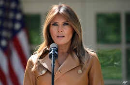 First lady Melania Trump speaks on her initiatives during an event in the Rose Garden of the White House, May 7, 2018, in Washington.