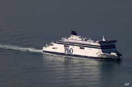FILE - A P&O cross-Channel ferry arrives at Calais harbour, northern France, northern France, Sept. 25, 2015.