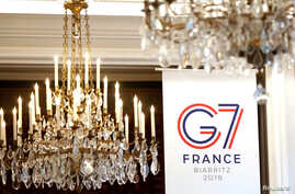 The logo of the upcoming August 2019 G-7 summit in Biarritz is seen during the interior ministers of G-7 nations meeting in Paris, France, April 4, 2019.