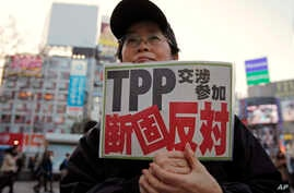 "FILE - A protester holds a sign reading ""We oppose Japan to join the TPP negotiation talks"" during a rally against the Trans-Pacific Partnership in Tokyo."