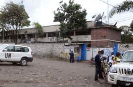 The outside of the U.N. hospital where people are being treated after a blast on the outskirts of Goma, Congo, Tuesday, November. 8, 2016. A grenade detonated where a group of Indian peacekeepers were exercising, killing at least two people and spark