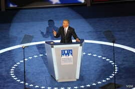 U.S. President Barack Obama addresses the Democratic National Convention, saying Hillary Clinton would be the right person to succeed him as commander in chief, in Philadelphia, Pa., July 27, 2016. (A. Shaker/VOA)