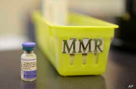 FILE - A measles, mumps and rubella vaccine on a countertop at a pediatrics clinic in Greenbrae, Calif., Feb. 6, 2015. The U.S. has counted more measles cases in the first two months of this year than in all of 2017.