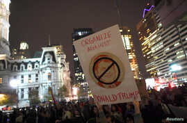 Protestors march against Republican Donald Trump's victory in Tuesday's U.S. presidential election in Philadelphia, Pennsylvania, Nov. 9, 2016.