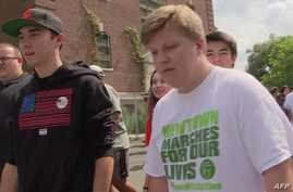 Screenshot of Parkland student anti-gun violence march arriving in Newtown.