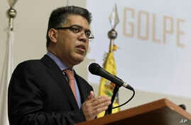Venezuela's Foreign Minister Elias Jaua speaks during a news conference at the Venezuelan Embassy in Brasilia, Brazil, Friday, Feb. 28, 2014.