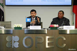 UAE's Oil Minister OPEC President Suhail Mohamed Al Mazrouei and OPEC Secretary General Mohammad Barkindo address a news conference after an OPEC meeting in Vienna, Austria, June 22, 2018.