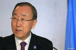 U.N. Secretary-General Ban Ki-moon attends the Cyprus reunification talks in Switzerland Nov. 7, 2016. The United Nations leader apologized three times to the people of Haiti, Thursday, Dec. 1, 2016, in Creole, French and English for the cholera outb