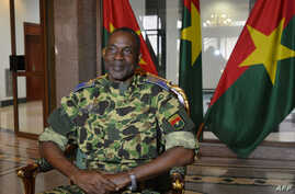 General Gilbert Diendere sits at the presidential palace in Ouagadougou, Sept. 17, 2015.