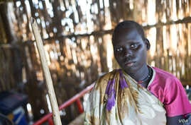 """Physically disabled Angelina, 20, was left behind when members of a militia allied with the South Sudan army abducted three women and a teenage girl that she was hiding with. """"When I fled [my village], I felt very tired and I sometimes would fall a..."""