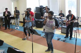 A group of Stax Music Academy musicians rehearse for their upcoming tour of Europe, in Memphis, Tenn., June 30, 2017.