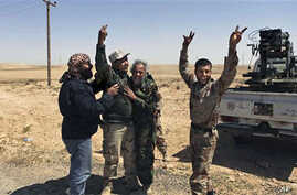 Libyan rebels celebrate after hitting a target outside Brega, Libya, April 5, 2011