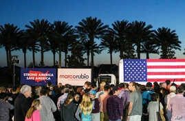A crowd waits for Republican presidential candidate, Sen. Marco Rubio, R-Fla., to speak at a campaign rally in Ponte Vedra Beach, Florida, March 8, 2016.