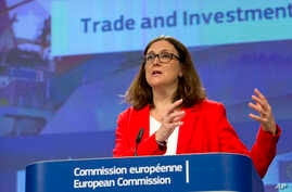 FILE - European Commissioner for Trade Cecilia Malmstroem speaks during a media conference at EU headquarters in Brussels, Tuesday, June 26, 2018.