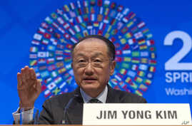 World Bank President Jim Yong Kim gesture while speaks at a news conference during the World Bank/IMF Spring Meetings, Thursday, April 14, 2016, at IMF headquarters in Washington.