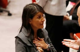U.S. Ambassador to the United Nations Nikki Haley speaks before a Security Council vote on an Arab-backed resolution for protection of Palestinian civilians during a Security Council meeting at U.N. headquarters in New York, June 1, 2018.