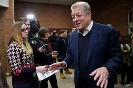 "Former U.S. Vice President Al Gore talks to reporters at the premiere of  ""An Inconvenient Sequel: Truth to Power"" at the Eccles Theater during the 2017 Sundance Film Festival in Park City, Utah, Jan. 19, 2017."
