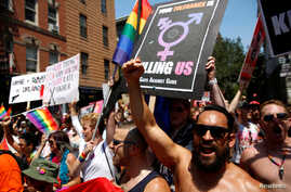 """Members of """"Gays Against Guns"""" march in the annual NYC Pride parade in New York City, New York, U.S., June 26, 2016."""