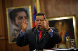 Venezuela's President Hugo Chavez talks during a press conference at the Miraflores palace in Caracas, Venezuela, October 9, 2012.