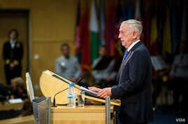Defense Secretary Jim Mattis discusses the partnership between the U.S. and Germany during an event commemorating the 70th anniversary of the Marshall Plan at the George C. Marshall European Center for Security Studies, Garmisch, Germany, June 28, 20