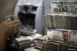 FILE - An employee counts money at an exchange office in downtown Cairo, Egypt, June 5, 2014.